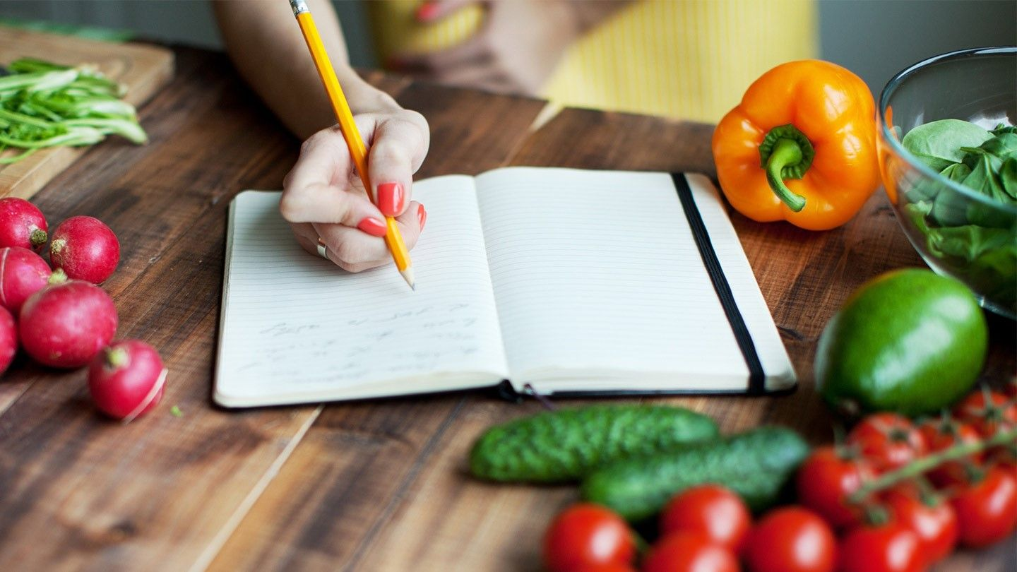 vegetables and a diary