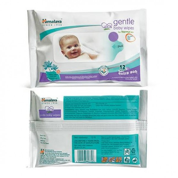 Gentle Extra Soft Baby - Normal skin 12's (Himalaya) Wipes