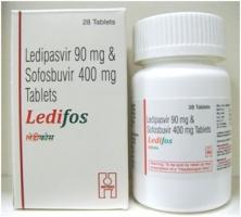 Box and a bottle pack of generic ledipasvir 90mg and sofosbuvir 400mg