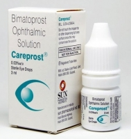 Box pack and a dropper bottle of generic bimatoprost Eye Drops 0.03, 3 ML