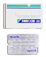 Box and a strip of generic Famotidine 20mg Tablet