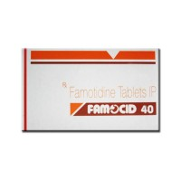 Box of generic Famotidine 40mg Tablet