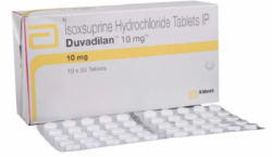 Box and a blister of Generic Vasodilan 10 mg Tab - Isoxsuprine