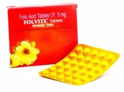Box and a strip of Generic Folic Acid 5 mg Tab