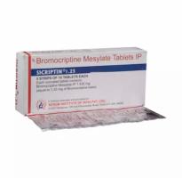 A box and a strip of generic Bromocriptine (1.25mg) Tab