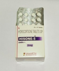 Box and a blister of Generic Cortef 5 mg Tab - Hydrocortisone