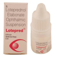 Box and a dropper bottle of generic Loteprednol etabonate 0.5 %  Eye Drop 5 ml