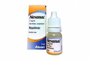 Box and a dropper bottle of generic Nepafenac 0.1 %  Eye Drop 5ml
