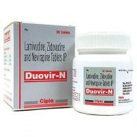 A box and a bottle of Lamivudine (150mg) + Zidovudine (300mg) + Nevirapine (200mg) Tab