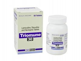 A box and a bottle of generic Lamivudine (150mg) + Stavudine (30mg) + Nevirapine (200mg) Tab