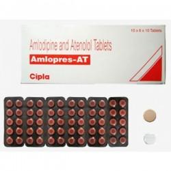 Box and a blister of Generic Amlodipine 5 mg + Atenolol 50 mg Tab