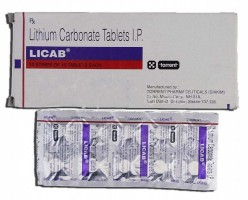 Box and a blister of generic Lithium (300mg) Tab