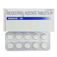 Box and a strip of generic Megestrol 40mg Tab