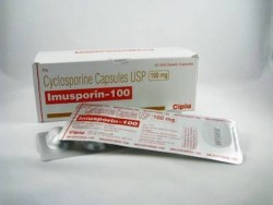 Box and a strip of generic Cyclosporine  100mg Capsule