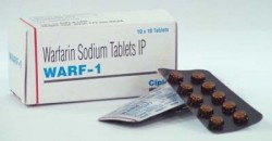 Box pack and two blisters of generic Warfarin 1mg Tablet