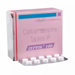 Box pack and a blister of Generic Tegretol 100 mg Tab - Carbamazepine