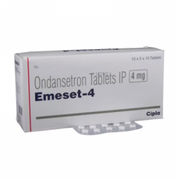 Box and a strip of Ondansetron 4mg Tablet