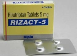 A box and a blister of Generic Maxalt 5 mg Tab -  Rizatriptan