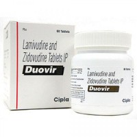 A box and a bottle of generic Lamivudine (150mg) + Zidovudine (300mg) Tablet