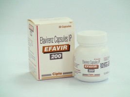 A box and a bottle of generic Efavirenz 200 mg Capsule