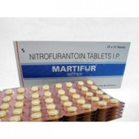 Box and a few strips of Nitrofurantoin 100 mg Tablet