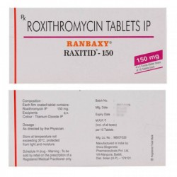 Front and backside of a box pack of Roxithromycin 150 mg Tablet