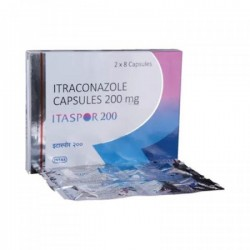 Box pack and a strip of generic Itraconazole  200mg Capsule