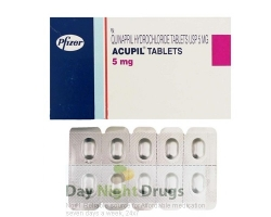 Box and a strip of generic Accupril 5mg Tablets - quinapril hydrochloride