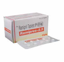 Box and blister strip of generic Ramipril 2.5mg capsules