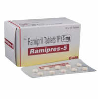 Box and blister strip of generic Ramipril 5mg capsules