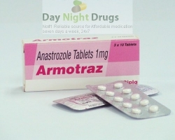 Box and a few strips of generic Anastrozole 1mg tablets