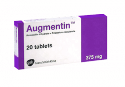 Box of generic AMOXICILLIN CLAVULANATE ( Clavulanic acid ) 250mg 125mg Tablet
