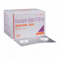 Box and  blister strips of generic fluconazole 200mg tablet