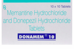 Box of Donepezil (5mg) and Memantine (10mg) Tablets