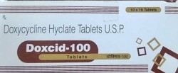 Box and a blister of generic Doxycycline 100mg tablet
