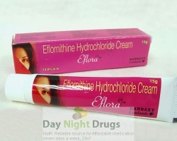 A tube and a box of generic eflornithine hydrochloride cream