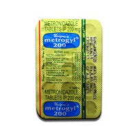 Back of generic metronidazole 200mg tablet blister strip