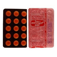 Front and back of generic metronidazole 400mg tablet blister strip
