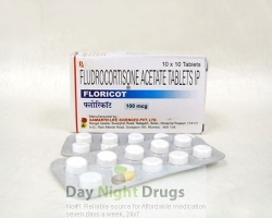 Box pack and two strips of generic Florinef Acetate 0.1mg Tablets