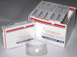 Boxes and blister strip of generic Sumatriptan Succinate 100mg tablet