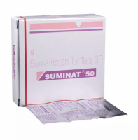 Box and blister strip of generic Sumatriptan Succinate 50mg tablet