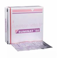 Box and blister strip of generic Sumatriptan Succinate 50mg tablet
