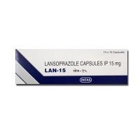 Box of generic Lansoprazole 15mg capsule