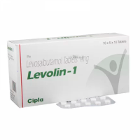 Box and blister strip of generic Levosalbutamol (1mg) Tab