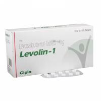 Box and blister strip of generic Levosalbutamol (1mg) Tab