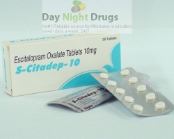 Box and two strips of generic Escitalopram Oxalate 10mg tablets