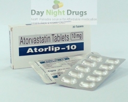 Box and few strips of generic Atorvastatin Calcium 10mg tablets