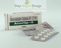 Box and two strips of generic Atorvastatin Calcium 5mg tablets