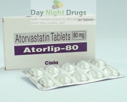Box and a strip of generic Atorvastatin Calcium 80mg tablets