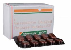 Box and a blister of Generic Asacol 800 mg Tab DR - Mesalamine